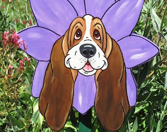 "Made to Order Hand Painted Basset Hound Yard Art - ""Daisy"" with Purple Petals."