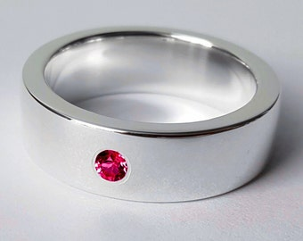 Wide Sterling Silver Ruby Band - Sterling Silver Ruby Ring, Ruby Wide Band, Ruby Wedding Band, Heavy Ruby Band, Ruby Wedding Ring, Wide Band