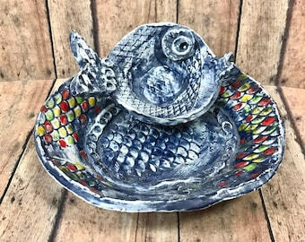 Multi-purpose Fish Dish Set in Navy; Hand Made Ceramic Fish Shape Plate and Mini Sauce Bowl