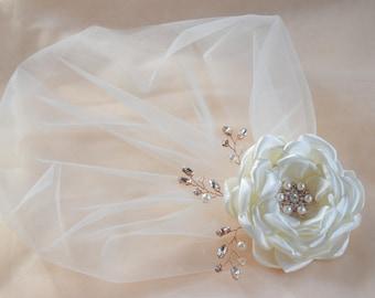 Birdcage Veil, Vintage Veil, Bridal Fascinator, Wedding Headpiece, Champagne Veil, Blusher Veil, Bridal hair flower, Flower Hair Clip