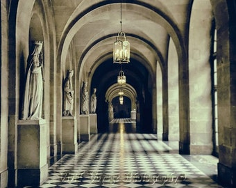 Architectural Art Print, Versailles France, Architecture Photography, Sepia Wall Art, Interior Design, French Home Decor, Galerie de Pierre