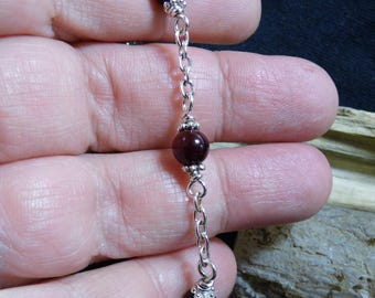 Red Agate Beaded Silver Bracelet 6 1/2 inch