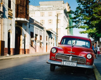 Red Classic Car in Cuba - Photography Fine Art Print, 1950s Car, Cityscape, Travel Photography, Cuban Art, Cuba Car, Wanderlust, 50s Car