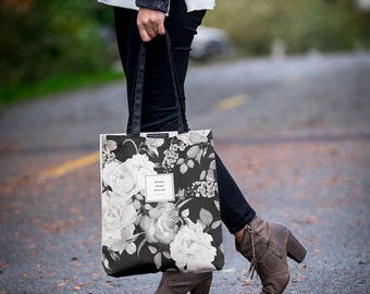"""The """"Blake"""" Botanical Tote Bag With Pockets, Floral Tote, Handmade Canvas Bag, Bookbag Literary Gift for Her, Girlfriend Gift, Fashion Print"""