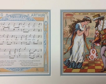 "Vintage Print, ""Good King Arthur,"" Walter Crane, Baby's Opera, Children's Song Book- c.1877, King Arthur, Children's Print"