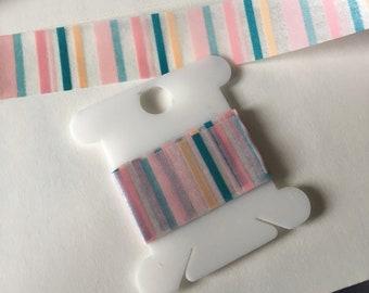 Pink Blue Coral Stripe Washi 18 inch sample