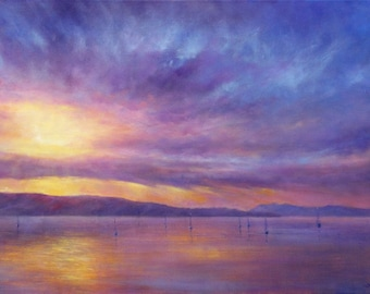 Sunrise Over The Bay original oil on canvas painting