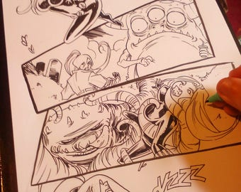 Comic Page yes I will draw you an original comic book page by boo rudetoons cartoon cosplay batman JusticeLeague avengers wonderwoman