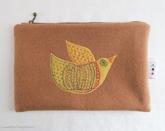 Wool zipper pouch, wool cosmetic bag, embroidered zipper bag, felted wool pouch, wool project bag, padded Kindle sleeve, Kindle cover