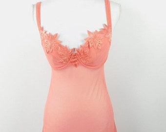 30% SPRING SALE Vintage 60s Victoria's Secret Coral Pink Floral Applique Lace Slip Spaghetti Strap Sheer Dress Lingerie Sz 36C Medium