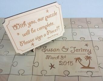Wedding Puzzle Guest Book (Beach) 32-400 Piece Wedding, Guest Book Puzzle, Guestbook, Rustic, Alternative Wedding, Laser Cut, Engraved