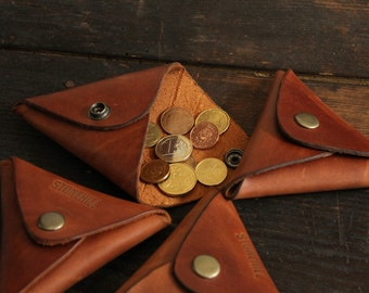 Leather Triangle Coin purse, Leather Coin Purse, Leather Coin Case, Coin Wallet, Free shipping