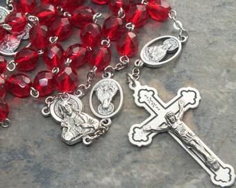 Herz-Jesu-Rosenkranz Rubin Rot Glas 5 Gesätze Rosenkranz, Herren Rosenkranz, Juli Rosenkranz, katholischen Rosenkranz, Birthstone Rosenkranz, groß