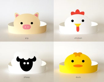 Printable Masks Kids/Boys/Girls/Adults, Birthday Party Hat/Headband/Crown, Supplies/Decor | Barnyard Farm Animals: Chicken, Duck, Pig, Sheep
