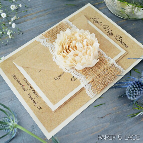 LAYLA - Burlap & Lace Wedding Invitation - Rustic Country Invite with Ivory Lace, Natural Burlap and Cream Chiffon Flower