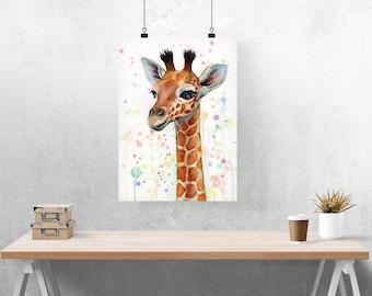 Baby Giraffe Watercolor Art Print, Nursery Art, Baby Animal Art, Baby Art, Whimsical Animal, Cute Animal, Whimsical Giraffe, Kids Room Decor
