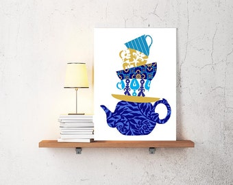 TeaCups and teapot pattern Kitchen Art Print -  Any Color home decor Patterns- Personalize Colors Option  Modern Inspired Art Print