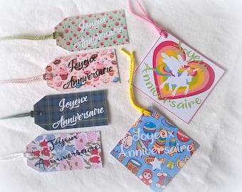 6 matching happy birthday labels