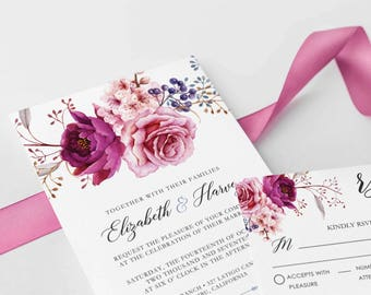 Wedding Invite Set, Floral Wedding Invitations, Invitation suite, Blush, Printable Wedding Invitation, Garden wedding,watercolor / Tegan