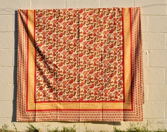 Indian Hand-block Printed Floral Tablecloth