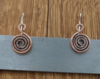Handmade copper earrings, handmade earrings, copper, sterling silver, earwires