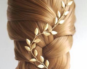Leaf Vine, Gold Hair Wreath, Wedding Headpiece, Flower Vine, Bridal Hair Comb, Bridal Wreath, Leaf Headband, Vine Hair Pin, Gold Hairpiece