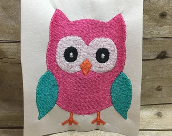 Owl Embroidery Design, Girl Owl Embroidery Design