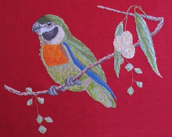 Counted cross stitch bird embroidery
