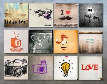Sale - Set of 12 graffiti photo prints set 5x5 wall art photography gallery wall graffiti decor 5x5 square prints