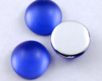 15mm Smooth Frosted Cobalt Cabochon (2 Pcs) #281