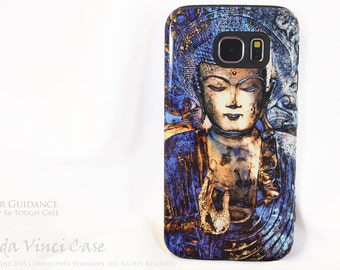Blue Buddha Galaxy S6 Case - Inner Guidance - TOUGH dual layer S 6 Case with Zen Buddha Art