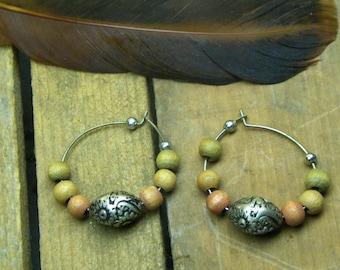 Circle of Earth Earrings // Rustic Wood & Metal Tribal BOho Handmade Hoop earrings.