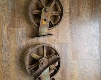"Antique Wheels Industrial Factory Cart Wheels 8"" Wheel Send Zip Code for FedEx shipping"