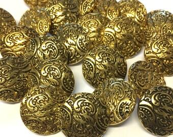 10 x gold buttons, metallic buttons, plastic buttons, metalised plastic, round buttons, vintage buttons, 18mm buttons, shirt buttons