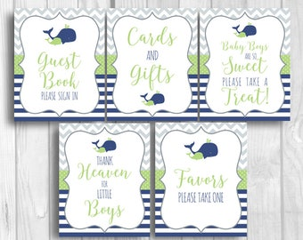 SALE Boy's Whale Baby Shower 8x10 Printable Sign Bundle - Guest Book, Gift Table, Favor Table - Navy Blue, Green, Gray, Instant Download