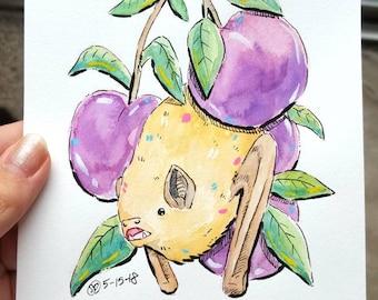 Cute Watercolor Bat Painting