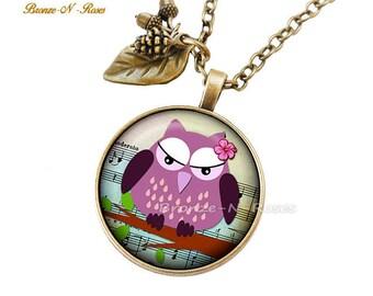 "Necklace ""Pretty pink OWL"" fantasy glass cabochon bronze jewelry"