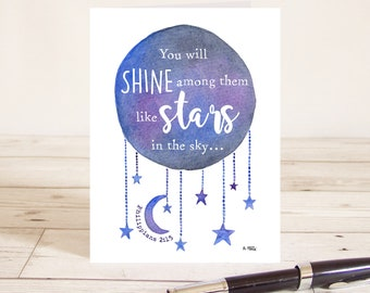 You will shine among them like stars in the sky (Philippians 2:15) Christian Bible verse greetings card with watercolour moon and stars