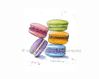 French Macaron Cookies 8x10 Kitchen Art print