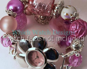Orchids n Lace...Lovely Orchid, Mauve and Silver Interchangeable Beaded Watch Band, Charms and Lace