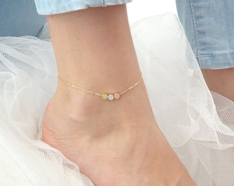Custom hand stamped anklet, dot ankle bracelet, Personalized jewelry, Three tone initial anklet, Gold Silver, Rose gold anklet