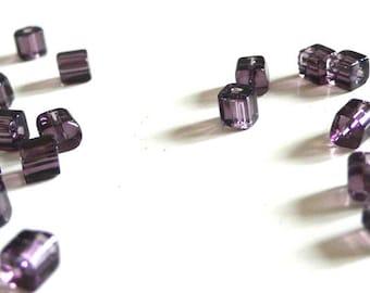 50 square transparent purple glass beads