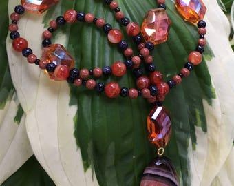 Drops of Jupiter Beaded Necklace; Banded Agate Oval Drop Pendant w/ Orange Crystal Center
