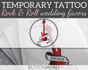 Rock N Roll Wedding Favors - Music Wedding Favors - Love Rocks Temporary Tattoos - Set of 12