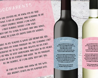 Will You Be My Godparent Wine Labels | 3.5 x 4 inches | Printable | Godparents Gift Ideas, Boy Girl Wine Bottle Label, Godmother Godfather
