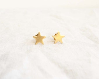 Teeny Tiny Twinkle Star Earrings. Small Golden Star. Simple Modern Jewelry by PetitBlue