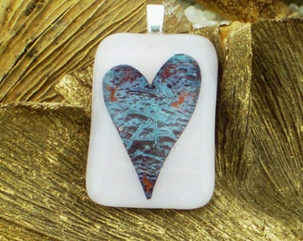 Fused Glass Pendant.. Encased Heart.. Opaque Pale Pink with Teal Blue and a Touch of Deep Rose Pink .. Silver Bail