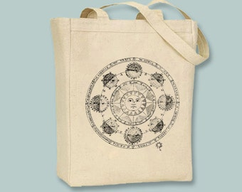 Ancient Star Sign Astrology Horoscope Chart on Natural or Black Canvas Tote - Selection of sizes, any image color available