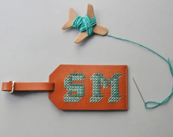 Stitch your own Leather Luggage Tag - Brown