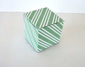 Green Stripes Spearmint Gift Box Printable Cube Favor Boxes